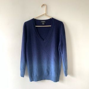 Lord & Taylor Blue Ombre Cashmere V-Neck Sweater